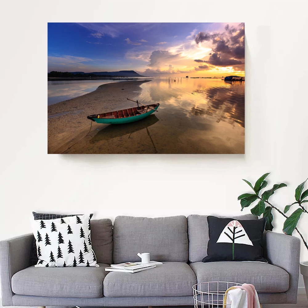 Summer Vibe With Boat And The Beach Canvas Art Avail Wall In 2020 Beach Canvas Art Lighted Canvas Art Beach Canvas