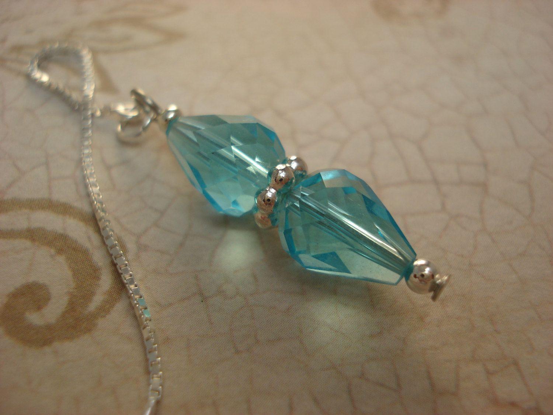 Light Blue Double Teardrops on Sterling  Ear Threads- Threader Earrings…