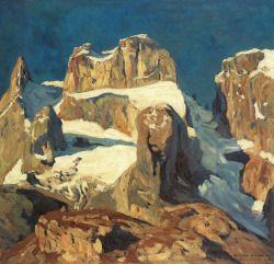 blastedheath:  Eugen Bracht (Swiss, 1842-1921), Die drei Türme im Grauertal [The Three Towers in Grauertal], 1908. Oil on canvas, 61 x 69cm.