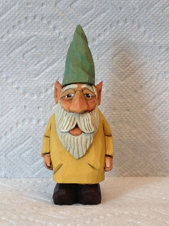 Hand Carved Handmade Small Garden Gnome Wood By