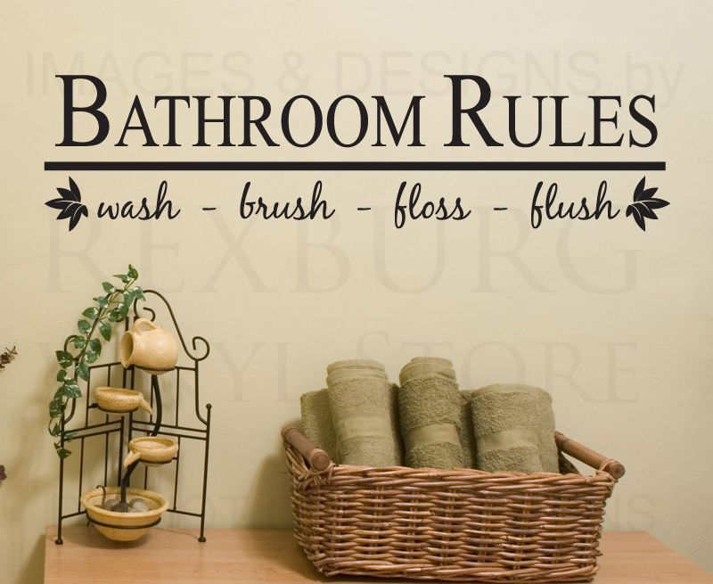 Wall Decal Sticker Quote Vinyl Art Bathroom Rules Wash Brush Floss .
