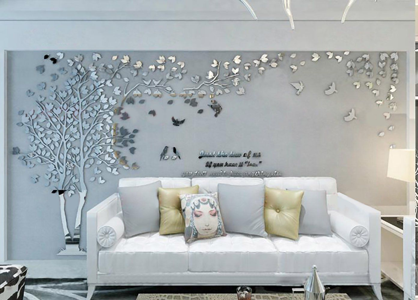 N Sunforest 3d Crystal Acrylic Couple Tree Wall Stickers Silver