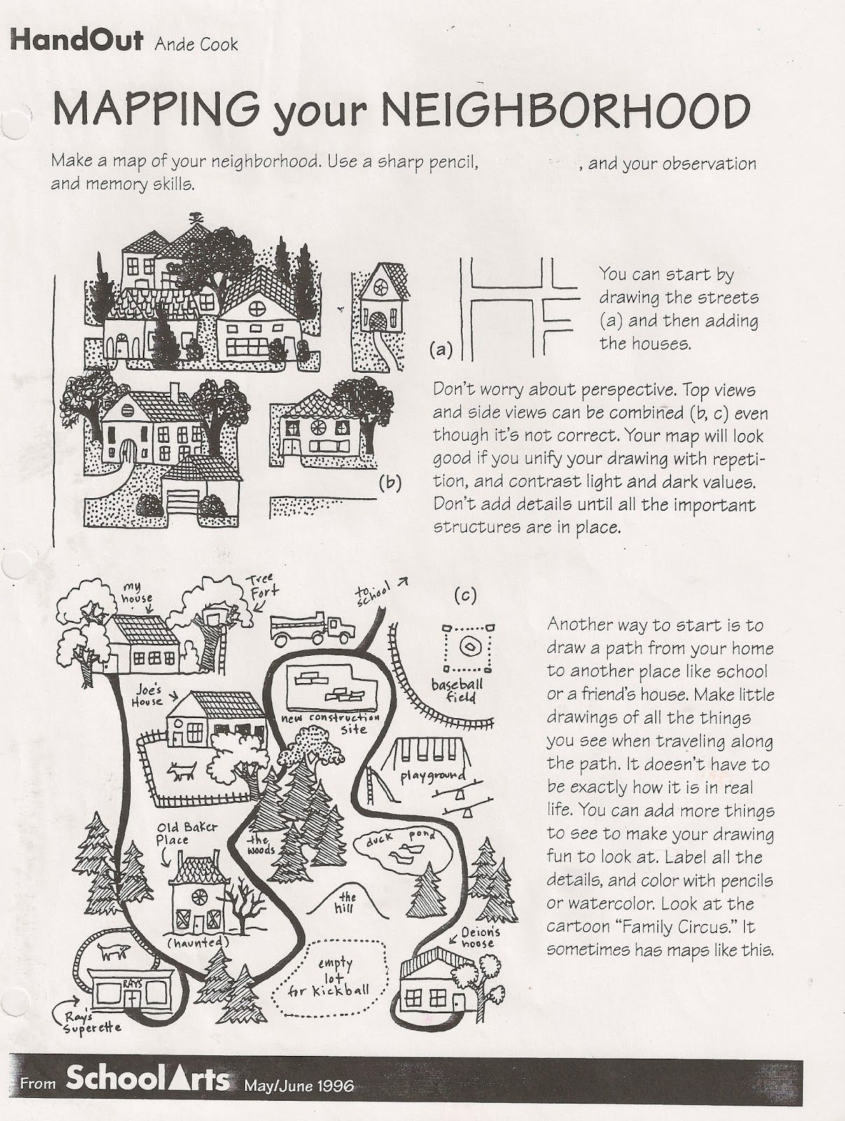Free Ande Cook S Mapping Your Neighborhood Handout And Complete Substitute Art Lesson
