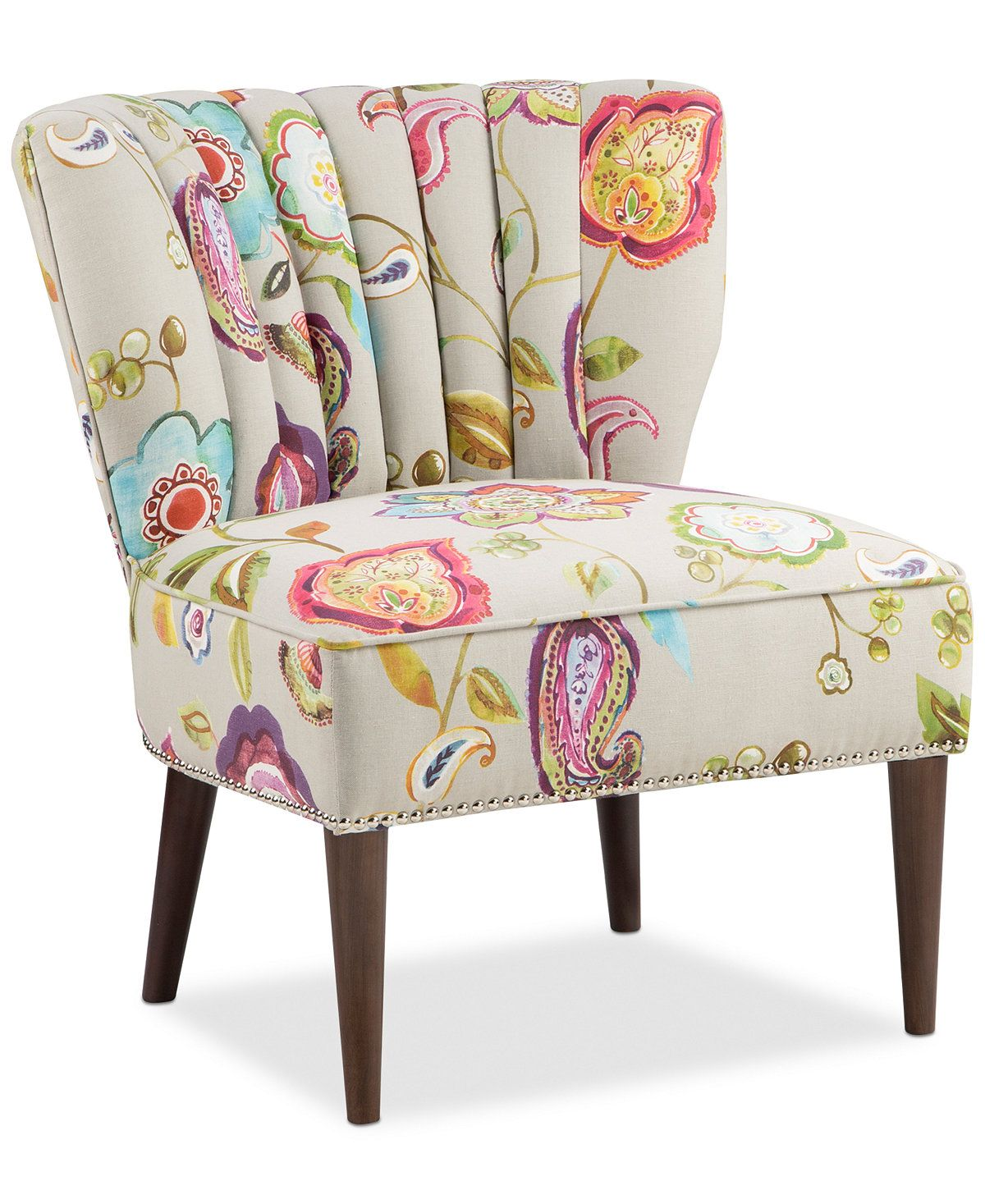 Kenzie Floral Fabric Accent Chair, Quick Ship - Chairs & Recliners ...