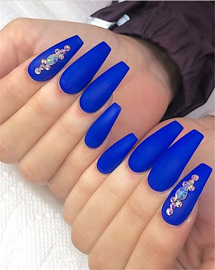 40 Gorgeous Dark Blue Coffin Nail Designs You Must Try This Winter