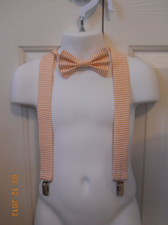 Little boys bow tie and suspenders set.