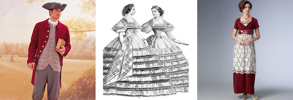 Historische kostuums, historical costumes, historische Kostüme, patterns, patronen, schnittmuster, patrons