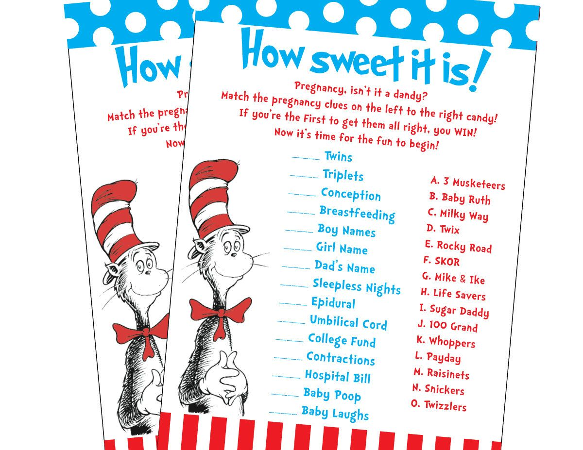 Dr Seuss Cat In The Hat Inspired Baby Shower Candy