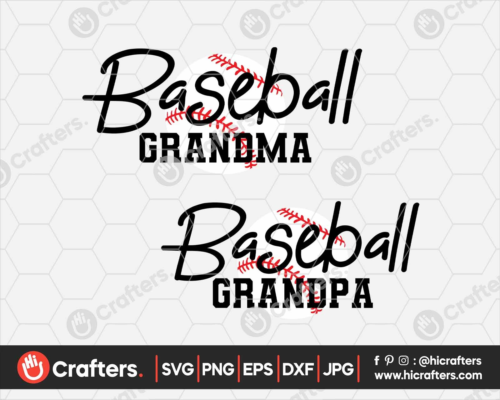 Baseball Grandma SVG, Baseball Grandpa SVG Hi Crafters