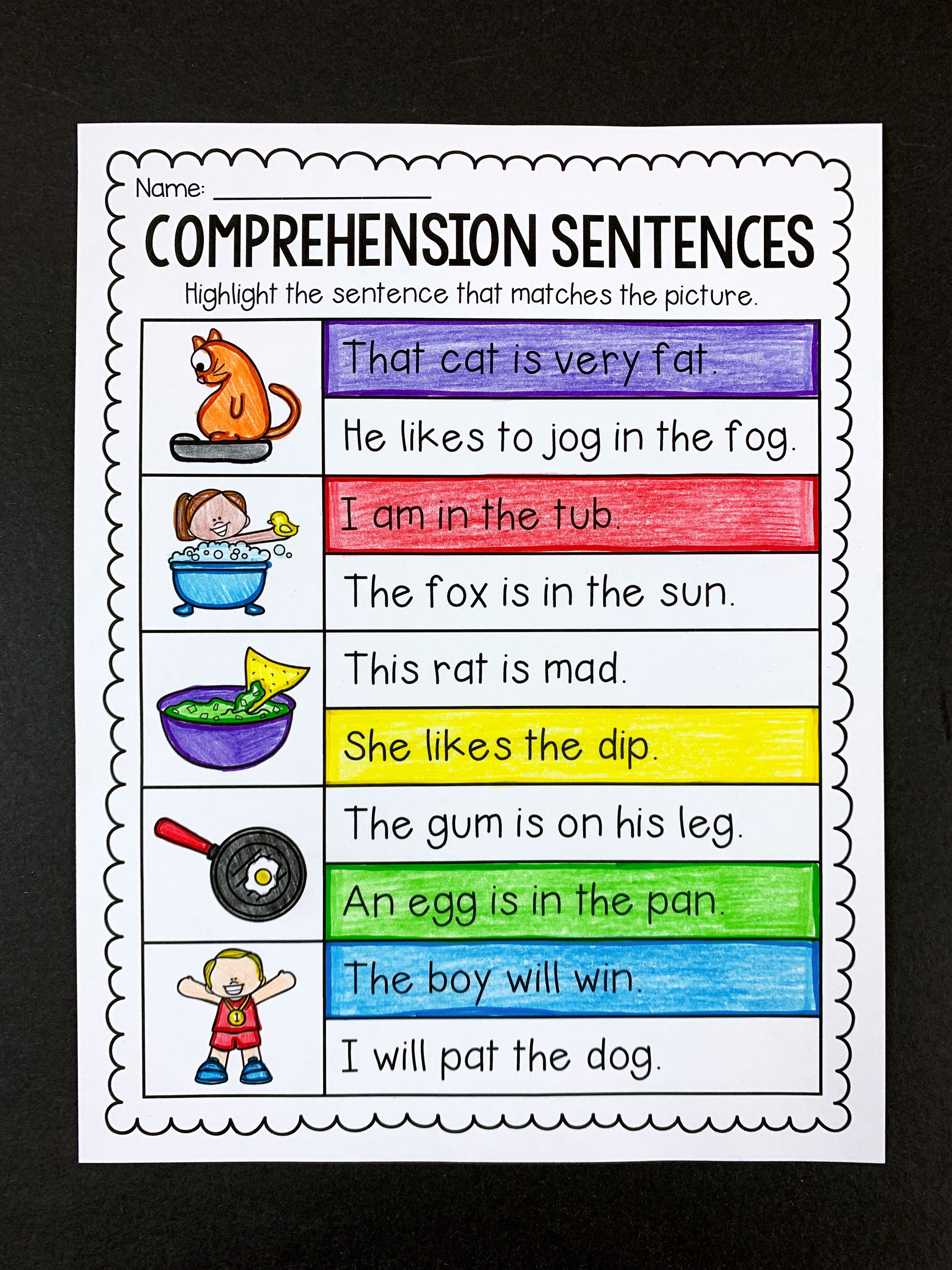 Comprehension Sentences Worksheets Distance Learning Reading Comprehension Activities Comprehension Comprehension Skill [ 4032 x 3024 Pixel ]