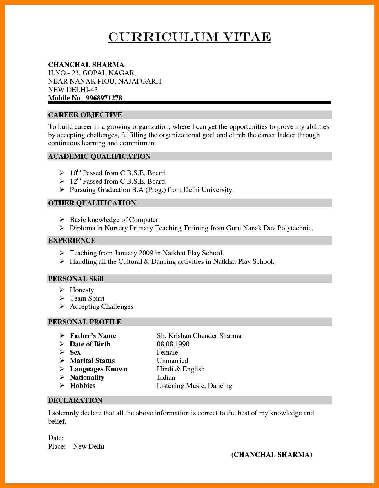 Resume Format Used In India Format India Resume Resume Format