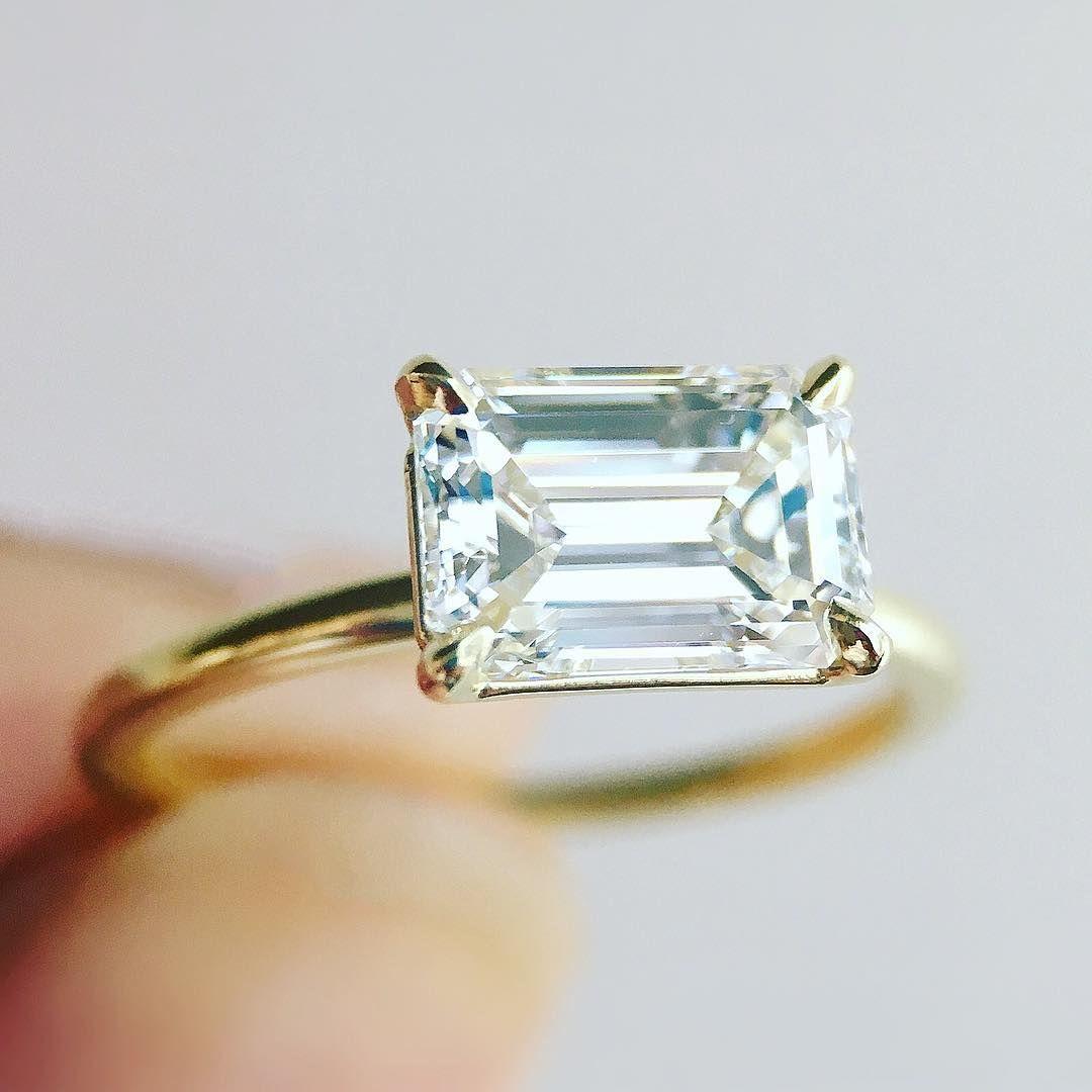 Horizontal Diamonds Got Us All Sorry Not Our Custom Horizontally Set Emerald Cut Diamond