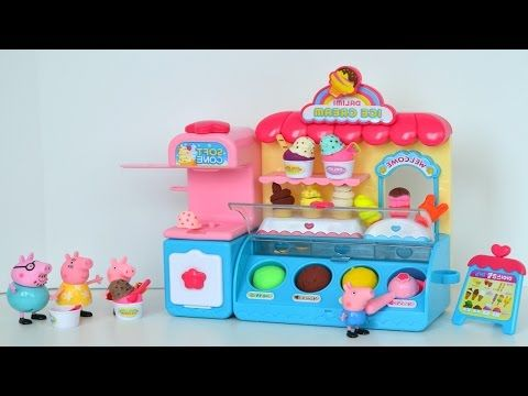 Neste video massinha Play doh Sorveteria e Pig George da familia Peppa Pig  comendo picole e sorvete!!! Em Portugues Muito Legal!!!
