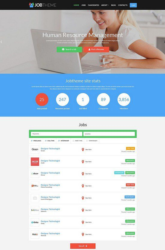 15 Best Job Portal HTML5 Website Templates | wresourcesfree | Pinterest