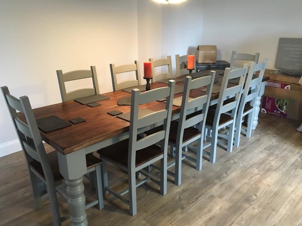 10 12 Seater LARGE FARMHOUSE DINING TABLE 10 CHAIRS OAK PINE Shabby ...