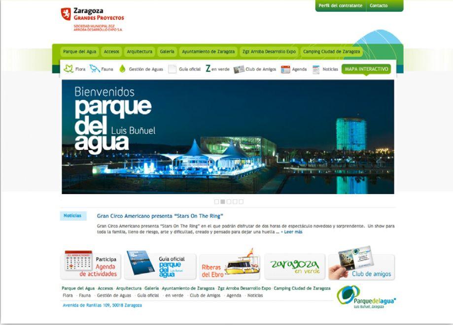 Diseño de la web del Parque del Agua de Zaragoza. http://www.parquedelagua.com/