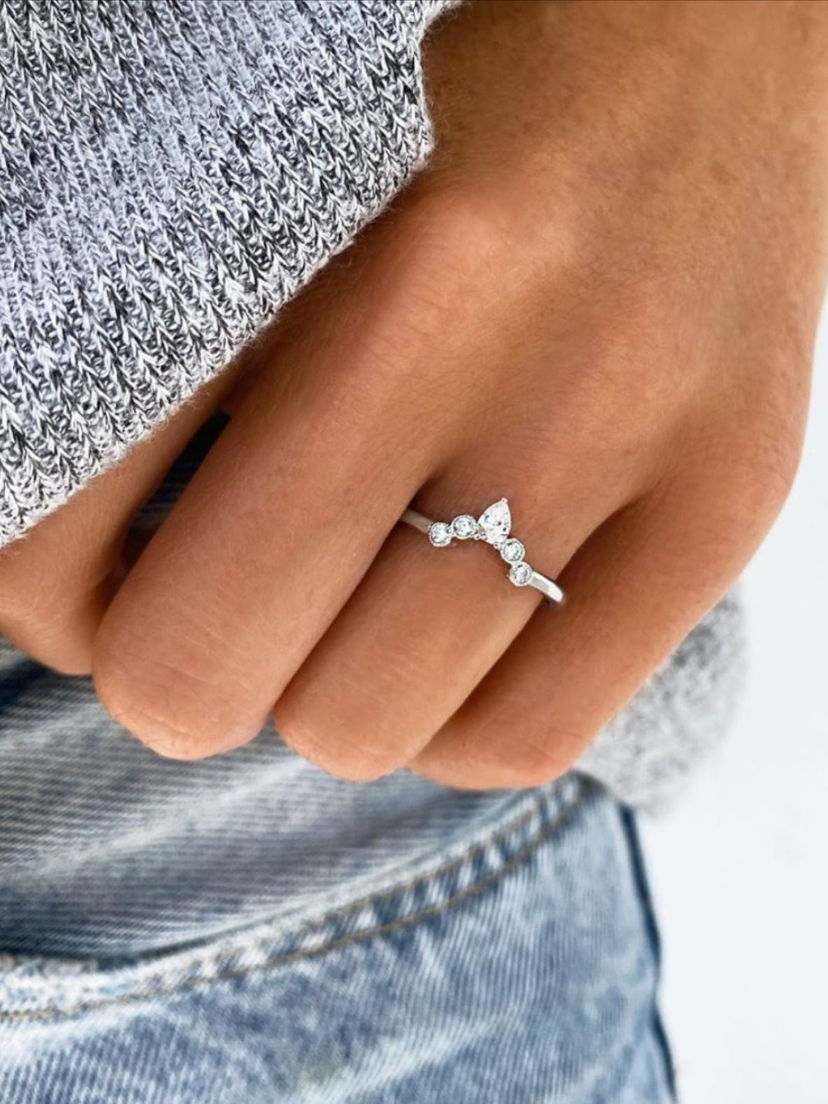 The Pear Shaped Stone Nesting Band is classy & affordable