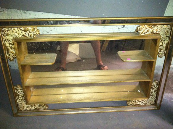 Vntg Mirror Shadow Box Wall Hanging 4 Shelf Scroll In Rogers Park