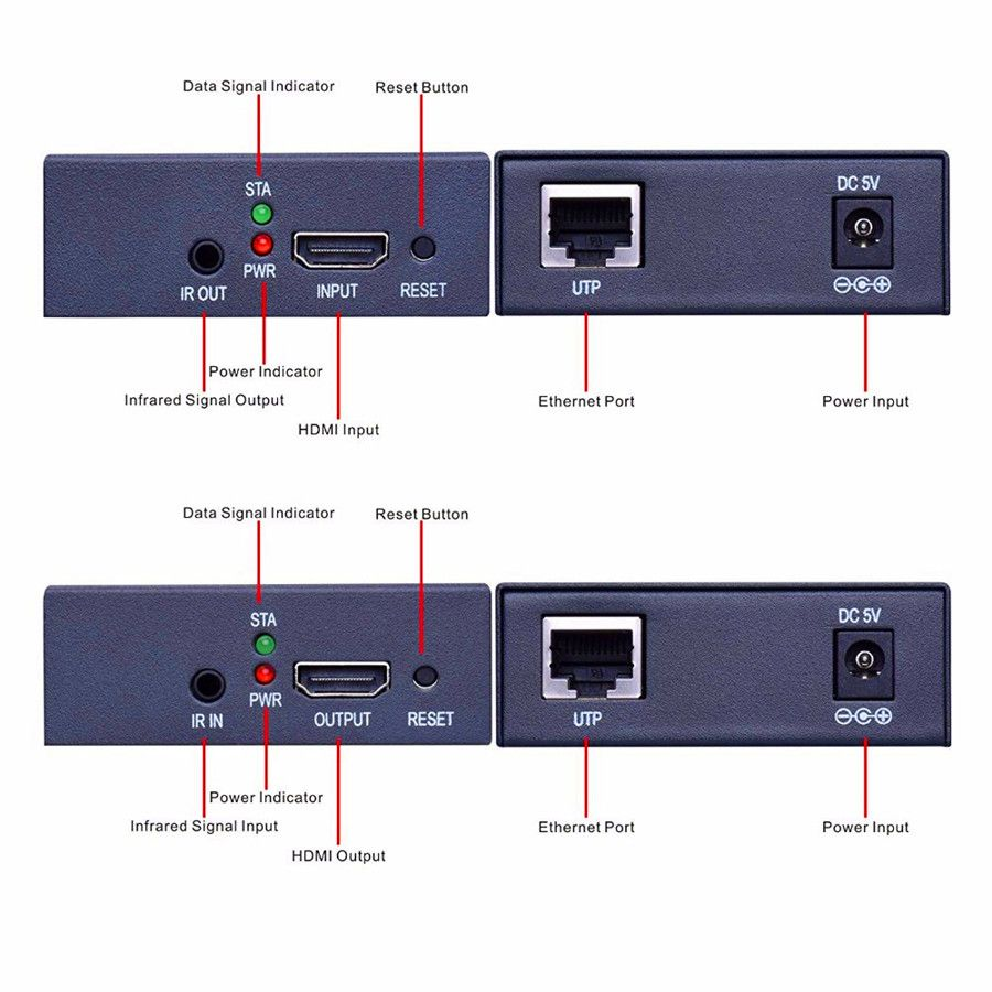 zy dt103 120m hdmi splitter lan extender over tcp ip 1080p tx rx hdmi extensor with ir via ethernet cat5 cat5e cat6 rj45 cable [ 900 x 900 Pixel ]