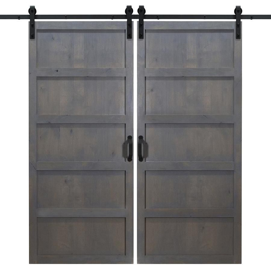 Dogberry 5 Panel 36 In X 84 In Ash Gray Stained 5 Panel Equal Wood Knotty Alder Barn Door Hardware Included Lowes Com In 2020 Double Sliding Barn Doors Barn Door Hardware Barn Doors Sliding