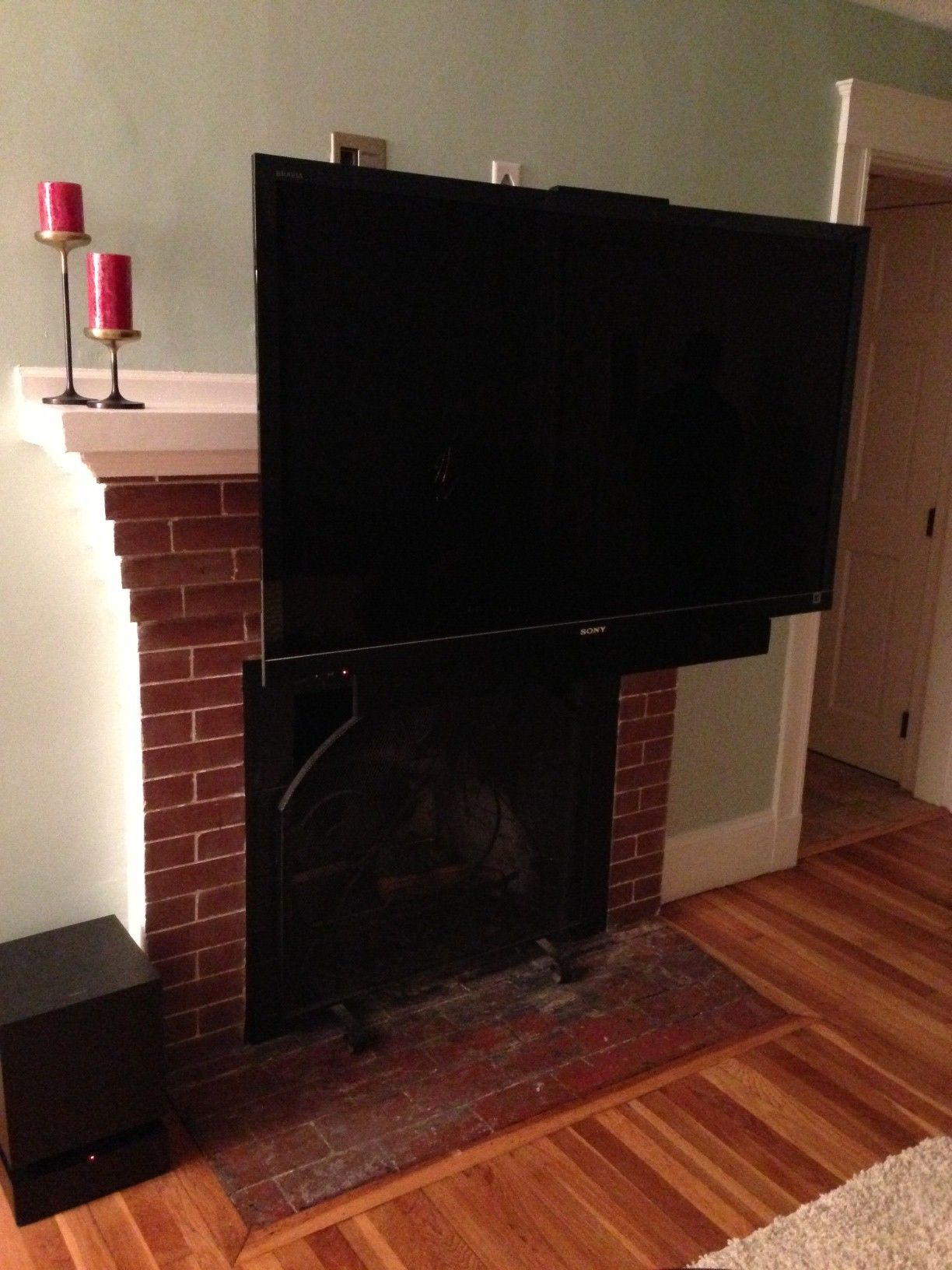 just installed this down and out mount from dynamic mounting rh pinterest com  above fireplace pull down tv mount