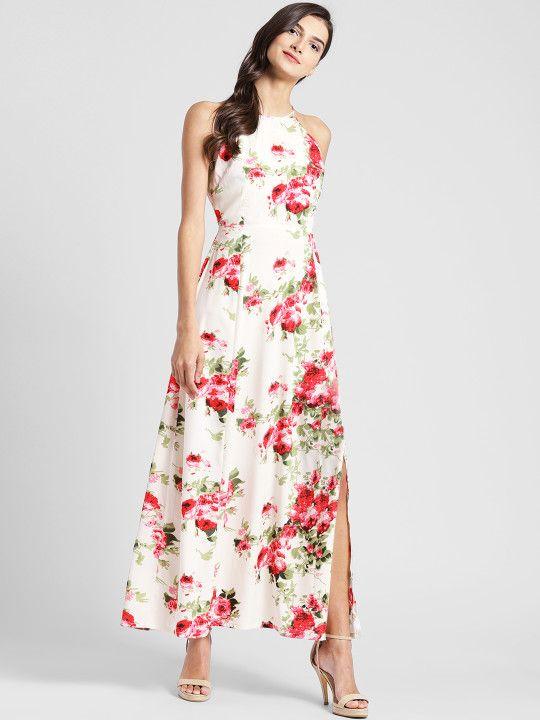918a79100 plusS Women Off-White Floral Print Maxi Dress -