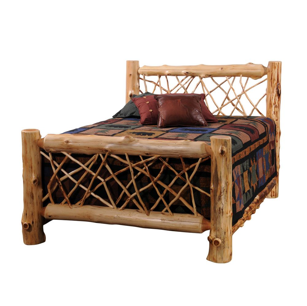 King Size Log Bed | ... Furniture | White Cedar | Bedroom | White Cedar Log  Twig Style Bed