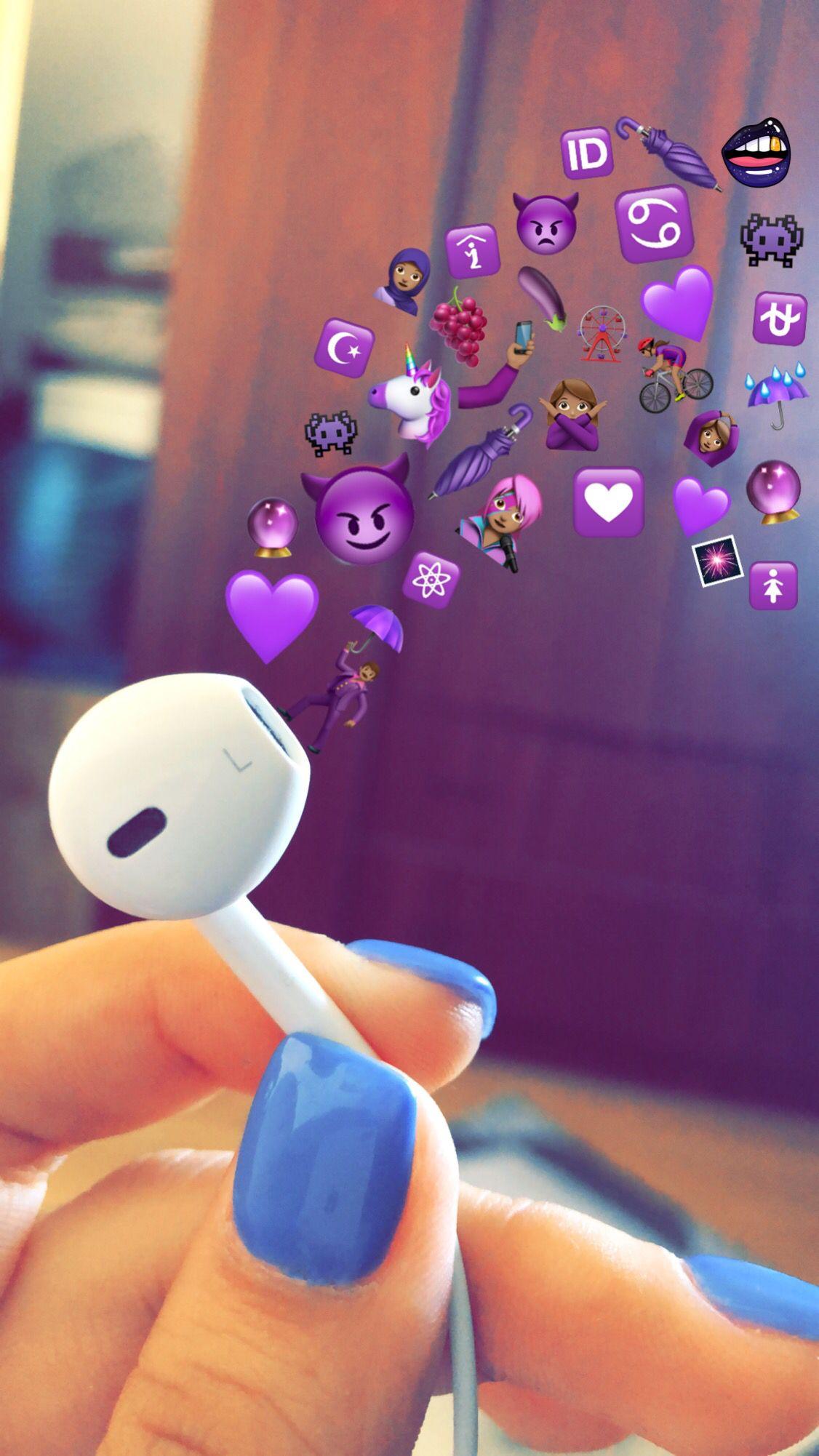 Air Pod Headphones With Purple Emojis Music Listening Apple Iphone Earbuds Instagram Story Ideas In 2020 Cute Emoji Wallpaper Emoji Pictures Emoji Wallpaper Iphone