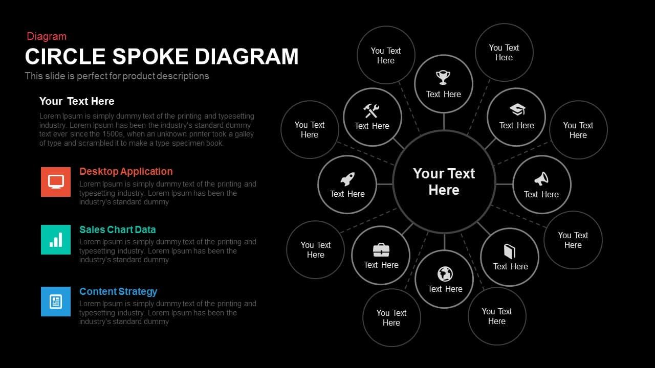 Circle Spoke Diagram Template For Powerpoint And Keynote Powerpoint Templates Circle Diagram Slide Design