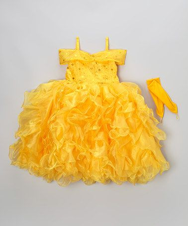 Take a look at this Yellow Glitter Princess Dress-Up Set - Toddler & Girls by Bijan Kids on #zulily today!