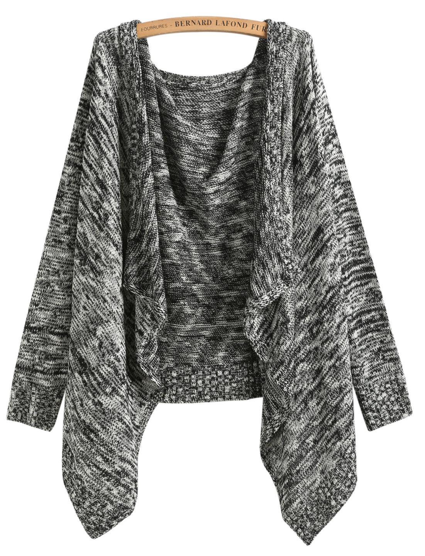 Shop Black Long Sleeve Knit Loose Cardigan online. Sheinside offers Black  Long Sleeve Knit Loose 27cd204f0