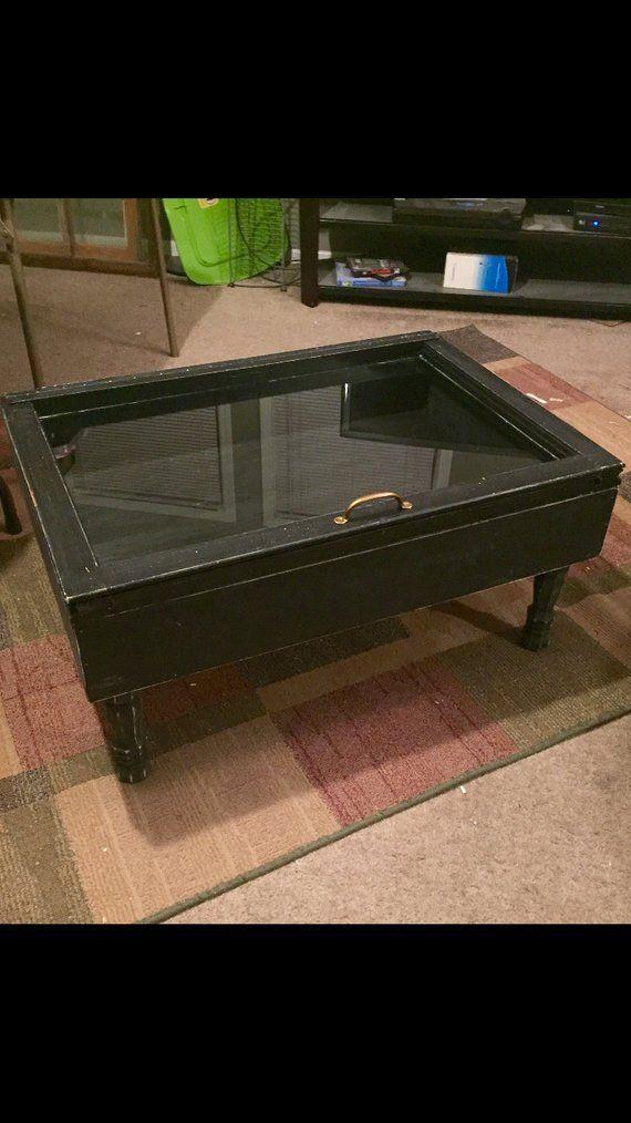On Fall Shadow Box Coffee Table Distressed Black Storage