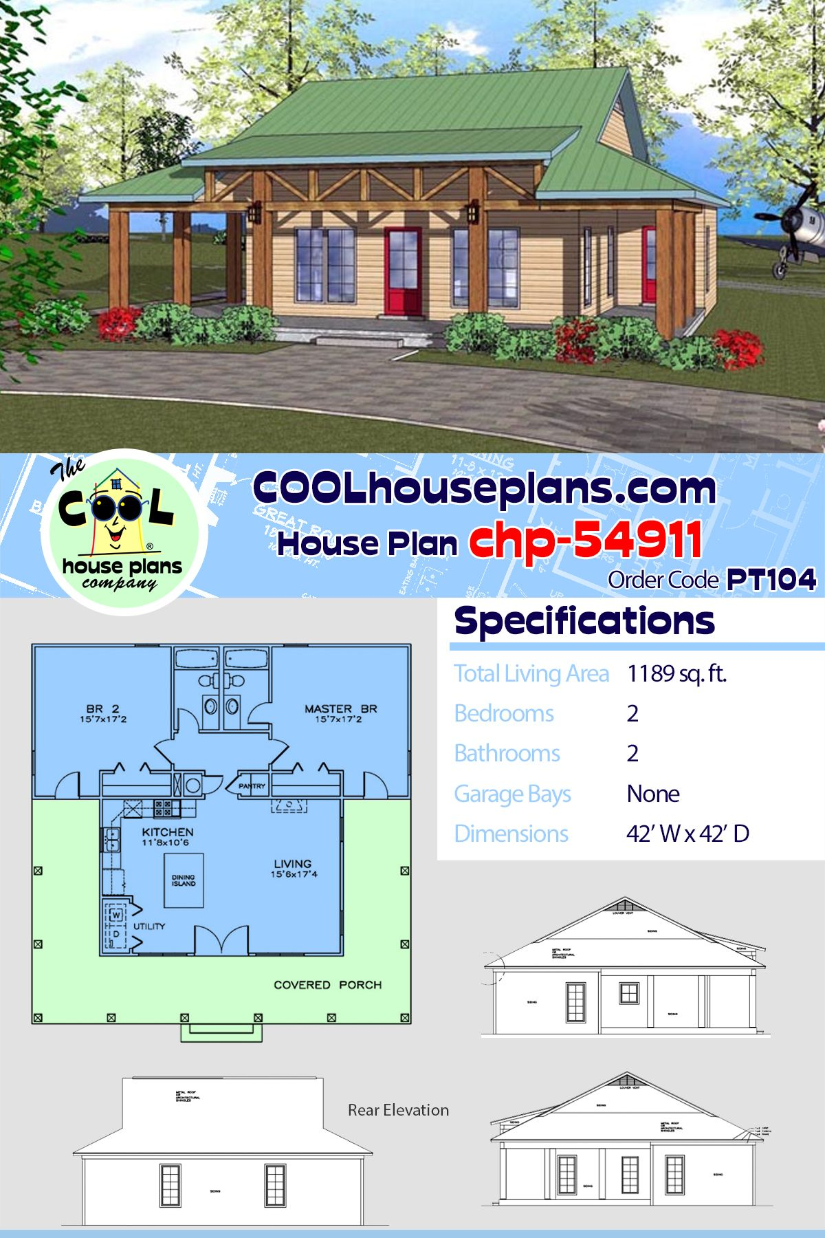 Southern Style House Plan 72318 With 2 Bed 2 Bath House Plans Vacation House Plans House In The Clouds