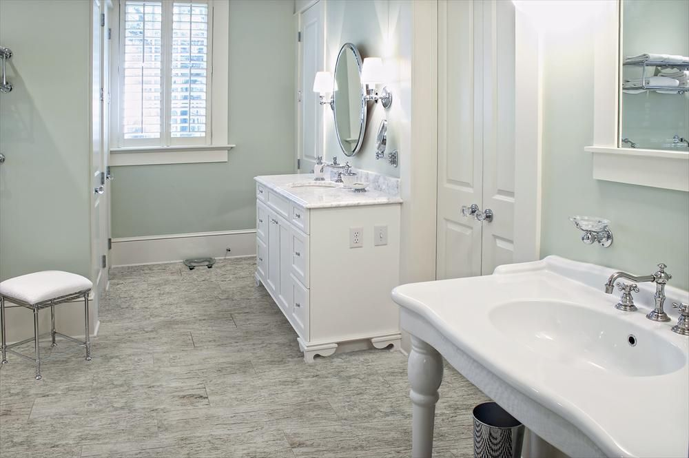 builddirect porcelain tile tacoma wood series cypress gray embossed bathroom view - Bathroom Cabinets Tacoma