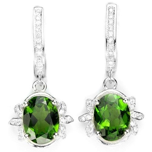 Natural Russian Chrome Diopside Sterling Silver Earrings