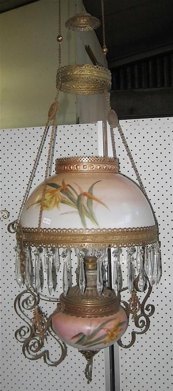 A 19th century Miller hanging lamp, hand painted yellow florals on pink ground with lustre drops