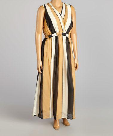Another great find on #zulily! Black & Khaki Stripe Surplice Dress - Plus by Mlle Gabrielle #zulilyfinds