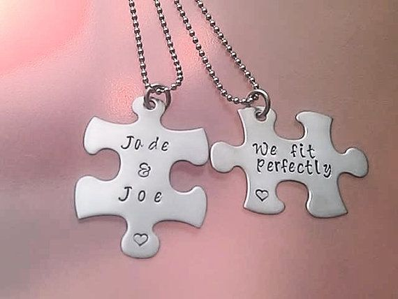 Customizable Puzzle Piece Necklace Set we fit perfectly on Etsy, $26.99