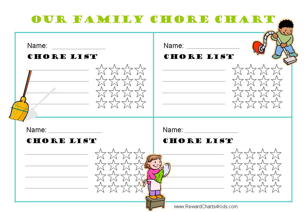 image about Printable Chore Charts for Multiple Children referred to as Printable chore charts for several young children Organizacija