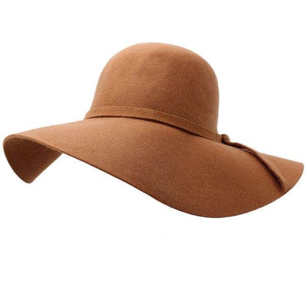 a6c52ad1c Cocoa Brown Wide Brim Diva Style Floppy Hat ($28) ❤ liked on ...