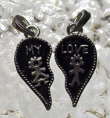 My Love Sterling Silver 925 split half charm for lovers Jewelry heart share | eBay