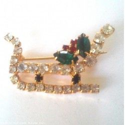 Vintage Rhinestone Christmas Santa Claus Sleigh with Holly Pin Brooch SPARKLING GORGEOUS PIECE