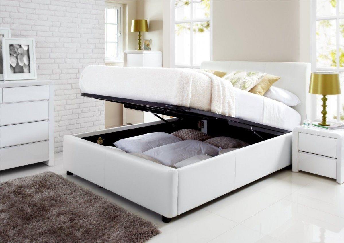 henley white leather ottoman storage bed room ideas