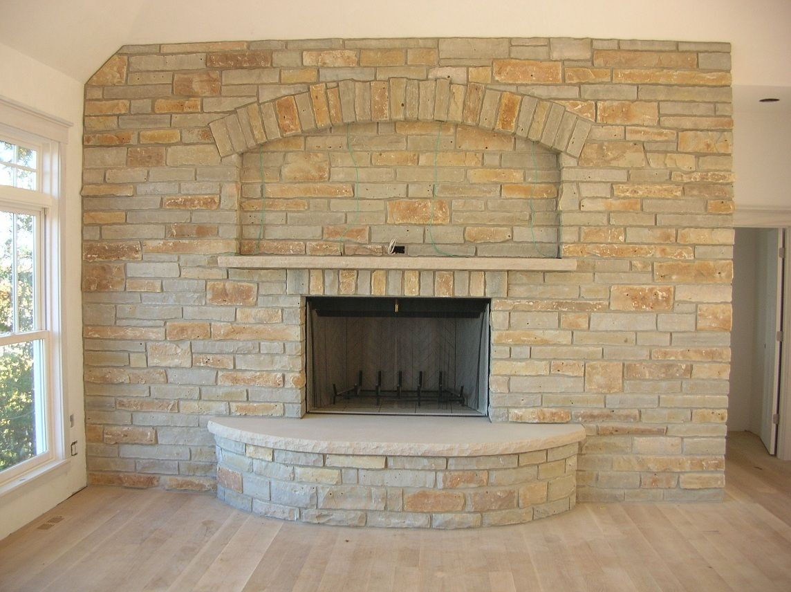 Wisconsin limestone fireplace