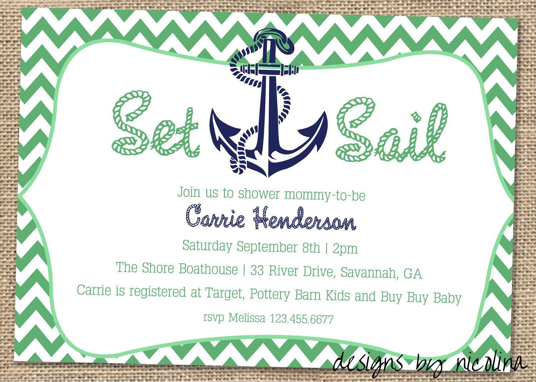 Set Sail Anchor And Chevron Boy Baby Shower Printable