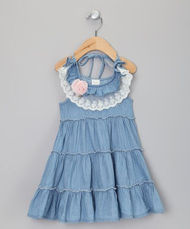 Take a look at this Denim Lace Tier Dress - Toddler & Girls by Sweet Charlotte on #zulily today!