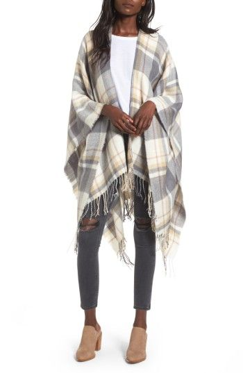 b7aac60a70afb Free shipping and returns on BP. Plaid Cape at Nordstrom.com. Ward off  cooling temps in a generously sized plaid cape that drapes over shoulders  to provide ...