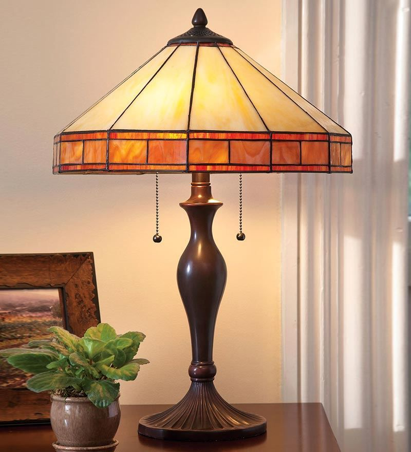 Plow tiffany style stained glass mission style table lamp guest room from plow hearth on catalog spree
