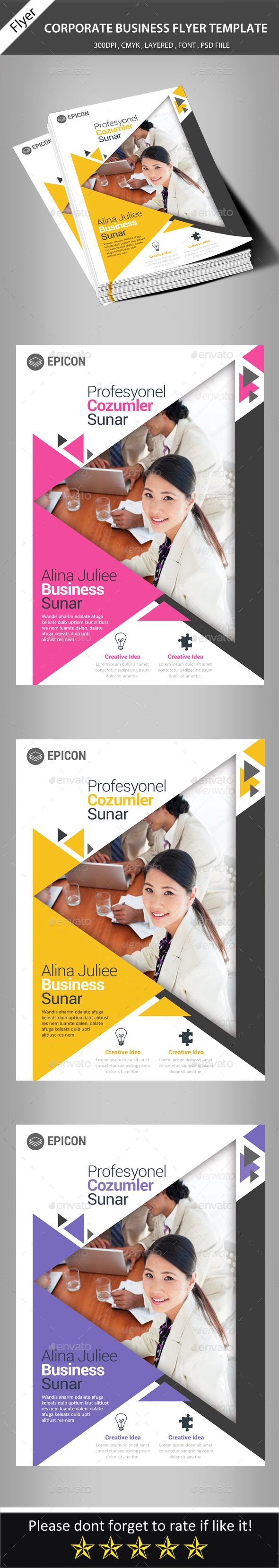 Corporate Business Flyer Template | Arte gráfico, Diseño editorial y ...