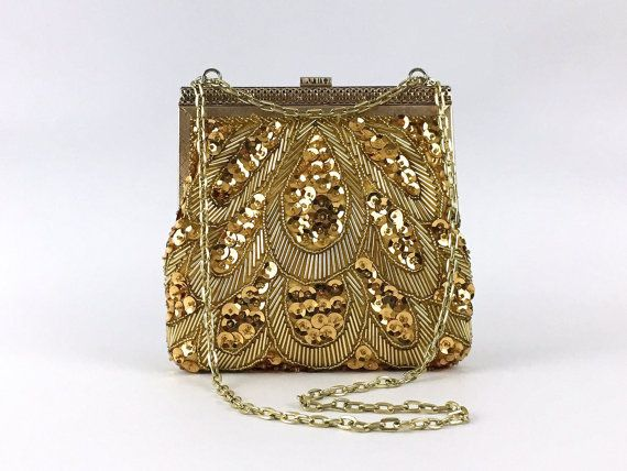 Gold Beaded Evening Bag Vintage 1970s by TheBirdcageVintage